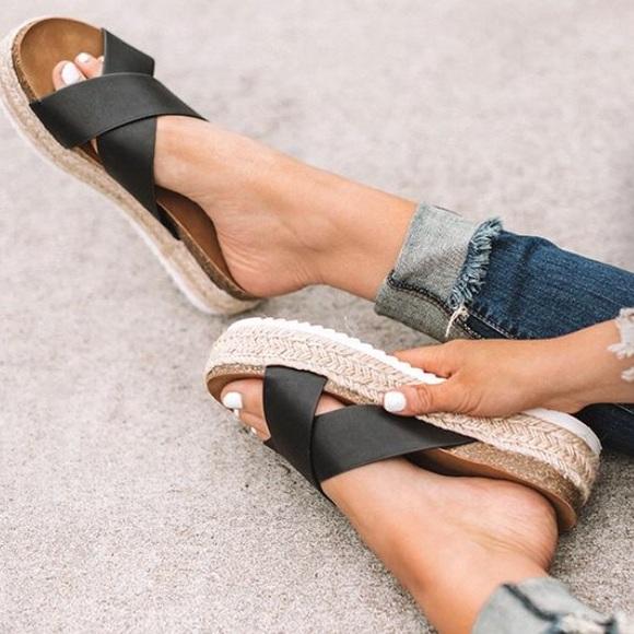fc8e63c3d49 Black X Strap Espadrille Platform Sandals. Boutique.  M_5c4b4599d6dc52367f67e56d. M_5c4b45a8c2e9fe51807229b0